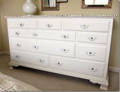 Dresser refurb for Samantha's room.  Not sure I would decoupage the top, but I love the drawer pulls.