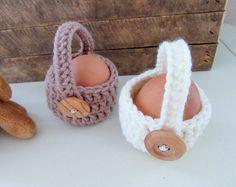 Mini easter basket crochet basket handmade easter egg cozy mini easter baskets crochet basket easter gift handmade easter housewarming egg cozy basket set doll accessory childs gift negle Images