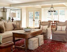 Lake House Living Room (colors: sofa, coffee table, rug)