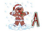 Alfabeto animado de galleta de jengibre saludando bajo la nieve.