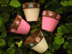 Small Painted Flower Pots for Wedding Favors - Garden Weddings - Baby Shower Favors