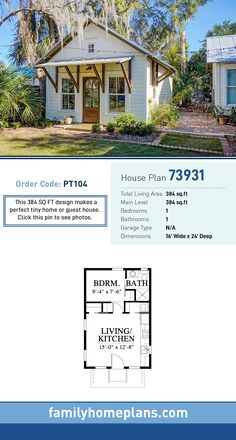 Tiny House Plan 73931 Total Living Area: 384 SQ FT, 1 bedroom and 1 bathroom. This 384 SQ FT design makes a perfect tiny home or guest house. Click this pin to see photos. Micro House Plans, Guest House Plans, Family House Plans, Cottage House Plans, Guest Cottage Plans, 1 Bedroom House Plans, Tiny Home Floor Plans, Two Bedroom Tiny House, Pool House Plans