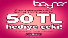 Boyner 21-27 Nisan 2014 Maximum Kart'a Özel 50 TL Hediye Çeki