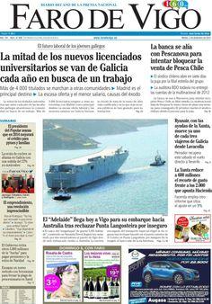 Los Titulares y Portadas de Noticias Destacadas Españolas del 3 de Diciembre de 2013 del Diario Faro De Vigo ¿Que le pareció esta Portada de este Diario Español?