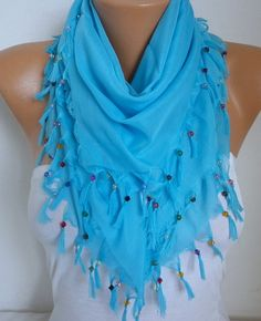 Turquoise Cotton Scarf Soft Shawl Spring Summer Cowl by fatwoman