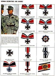 German Decorations and Awards World War II Iron Crosses Military Awards, Military Ranks, Military Insignia, Military Art, Military History, Ww2 Uniforms, German Uniforms, Uniform Insignia, Nazi Propaganda