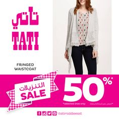 SALE – 50% discount on selected Fashion items at TATI! Keep your look with women's waistcoats  #tatimiddleeast #Sale #offer #Fashion #meccamall #Abdalimall #jordan #new #Trend