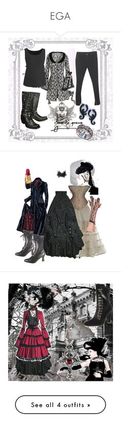 """""""EGA"""" by ravenbasslady ❤ liked on Polyvore featuring Shield, Avenue, J. Peterman, art, goth, black, dark, mansion, Christian Louboutin and Vollers"""