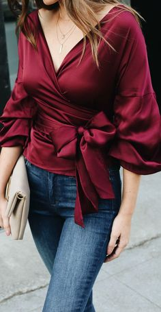 I wanna know burgundy satin wrap top Short Outfits, Fall Outfits, Summer Outfits, Casual Outfits, Cute Outfits, Fashion Outfits, Womens Fashion, Fashion Trends, Diy Outfits