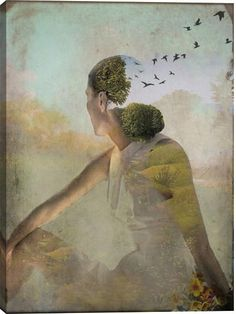 Summer Dreaming Figurative Canvas Wall Art Print by Catrin Welz-Stein