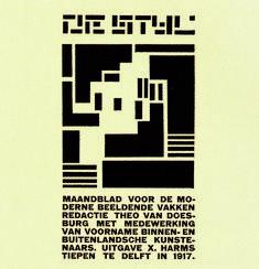 1917 'The Straight Line', was another title which Theo van Doesburg had in mind. He went for De Stijl, 'magazine for modern visual arts'.    Van Doesburg had het tijdschrift aanvankelijk 'De Rechte Lijn' willen noemen. Kenmerkend voor de nieuwe stijl was het denken in abstracte composities van lijnen, elementen en heldere, primaire kleuren.