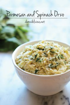 Parmesan and Spinach Orzo - This creamy orzo dish is a wonderful side or light main dish, and it's sure to be a hit with the entire family! ~I love orzo! It's like rice and pasta mixed together! It's also really good as a light pasta salad! Vegetarian Recipes, Cooking Recipes, Healthy Recipes, Cooking Tips, Pasta Dishes, Food Dishes, Side Dishes, Side Dish Recipes, Dinner Recipes