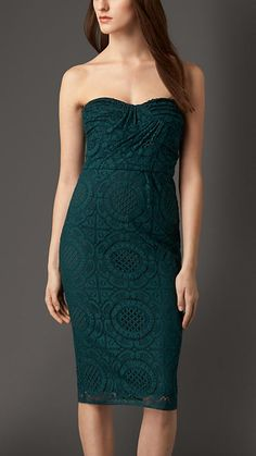 Burberry London Teal green Fitted English Lace Dress - A close-fit dress crafted from English-woven Cluny lace.  Structured gathering at the bodice complements the sweetheart neckline.  Discover the women's dress collection at Burberry.com