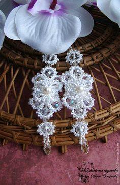 """Купить Свадебные серьги """"Ольга"""" - белый, длинные серьги, длинные сережки…"""