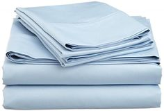 Light Blue Solid 500 TC 100 NEW Egyptian ORganic Cotton 4 pcs sheet set Three Quarter 48X75 Inch  17 Inch Pocket Drop