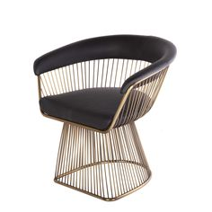 Gold Platner Style Dining Chair with Black Leather Upholstery and a Golden Finish. This mid-century modern chait design is inspired by Warren Platner.