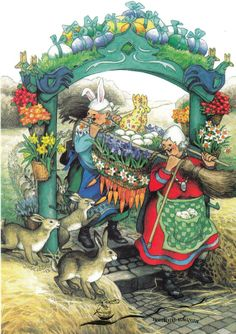 Illustration by Inge Look Hope it's a very special day. Looks like good weather too. Illustration by Inge Look Old Lady Humor, Art Fantaisiste, Alphonse Mucha, Whimsical Art, Old Women, Illustrators, Folk Art, Illustration Art, Old Things