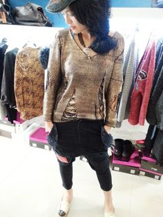 Metallic golden torn pullover sweater, fashion hollow v neck ripped  loose sweater #Christmas #Metallic #torn #pullover #sweaters www.loveitsomuch.com