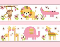 Safari Animals Wallpaper Border Wall Decals for baby girl jungle nursery or children's pink brown floral room decor. Includes a zebra, monkey, giraffe, elephant, lion, and alligator. Use as wall border or decals #decampstudios