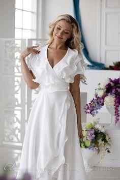 "Dress ""Air foam"" – shop online on Livemaster with shipping - Wrap Dress Midi, Chiffon Dress, White Chiffon, Vestidos Vintage, Vintage Dresses, Cheap Evening Dresses, Evening Gowns, White Wedding Dresses, Dress Making"