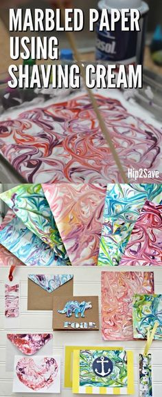 Here's how to use shaving cream and food coloring to make DIY Marbled Paper for a fun and easy craft project!