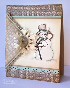 Sweet Envelope Style Snowman Card...with a snowflake and button. By debdeb - Cards and Paper Crafts at Splitcoaststampers.