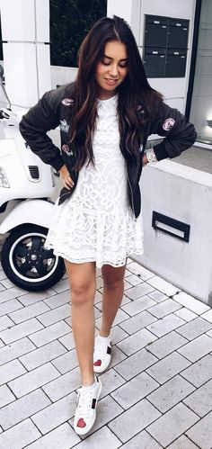 what to wear with a bomber jacket white lacer dress   sneakers