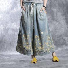 Pants - Women Spray Dyeing Denim Wide Led Pants