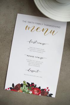 Holiday Menu Printable Template: DIY Festive Menus for Winter or Christmas Dinner Parties Chocolate Lave Cake, Molten Chocolate, Dinner Menu, Dinner Parties, Dinner Recipes, Family Thanksgiving, Menu Design, Holiday Festival, Place Card Holders