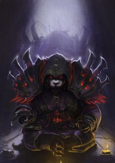 Yep, its a dark, evil panda. Commissioned by a friend for her World of Warcraft character. World Of Warcraft, Dungeons And Dragons Characters, Fantasy Characters, Fantasy Character Design, Character Art, Warcraft Dota, Pandaren Monk, Warcraft Characters, Heroes Of The Storm