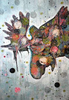 """The Moose""  textile art by Mirja Marsch 2014"