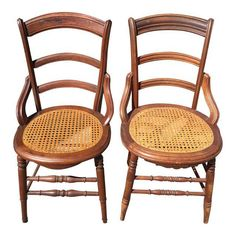 Image of Antique Caned Dining Chairs - A Pair