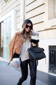 a Sunday in Paris - The Girl from Panama Cute Fashion, Fashion Outfits, Womens Fashion, Celine Belt Bag, Casual Outfits, Cute Outfits, Leather Fashion, Leather Pants, Winter Fashion