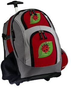Cute Ladybugs Rolling Backpack Deluxe Red - Best Backpacks Bags with Wheels or School Trolley Bags Carry-Ons - Unique Gifts!.  List Price: $89.99  Sale Price: $63.99  Savings: $26.00