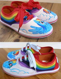 46ad107e6ba4d2 Hand painted Children My Little Pony shoes Rainbow by BeressyArt Rainbow  Dash Birthday