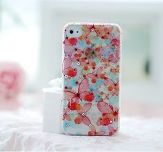 Noctilucent Butterfly Back Case with Diamonds for iPhone4 4S