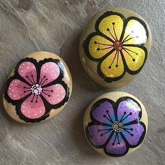 #rockart #posca #paintedstonesofinstagram #paintingstones #paintingrocks #malerpåsten #stoneart #hobby #presents #birthdaypresent #homemade #artsandcrafts #flowers #colours