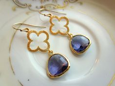 Purple Gold Clover Quatrefoil Tanzanite Earrings - Wedding Jewelry for Bridemaid or Valentines Day Gift