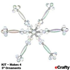 ECRAFTY.com Beaded Snowflake Ornament Kit Makes 4 Clear Crystal AB Lucite Beads w Wire Form http://www.ecrafty.com/p-3977-beaded-snowflake-ornament-kit-makes-4-clear-crystal-ab-lucite-beads-w-wire-form.aspx Great for kids and parents to make together! :-)
