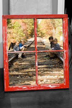 Old Vintage Window including your Photo, Distressed Chalk Paint Finish, Red