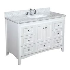 Abbey Bathroom Vanity (Carrara/White): Includes Italian Carrara Marble Top, Shaker Style Cabinet with Soft Close Drawers & Self Closing Doors, and Rectangular Ceramic Sink Kitchen Bath Collection Vanity Set, White Vanity Bathroom, Vanity Cabinet, Vanity Ideas, Vanity Units, Washroom Vanity, 60 Inch Vanity, French Bathroom, Gray And White Bathroom