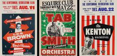 Vintage concert posters for Les Brown, Tab Smith and Stan Kenton