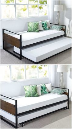 12 brilliant daybeds with space-saving trundles Wood and metal daybed smallspace furniture daybed s 12 brilliant daybeds with space-saving trundles Wood and metal daybed smallspace furniture daybed s Rachel Naylor bedroom furniture 12 nbsp hellip Home Design Diy, Bed Design, Interior Design, Design Ideas, Space Saving Furniture, Living Room Furniture, Bedroom Furniture Design, Design Bedroom, Metal Furniture