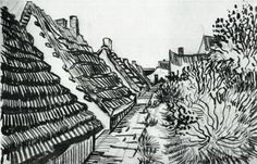 Vincent van Gogh, Street in Saintes-Maries Drawing, Reed pen Arles: June - early in month, 1888 Private collection Van Gogh Drawings, Dancing Drawings, Van Gogh Paintings, Ink Pen Drawings, Vincent Van Gogh, Van Gogh Art, Art Van, Desenhos Van Gogh, Van Gogh Landscapes