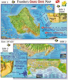Oahu Dive Map. Beautiful, detailed map and guide to all the diving and snorkeling sites on the island. Waterproof folded map or laminated poster. http://frankosmaps.com/images/stories/HawaiiMapOahuDive2010SplashPage.png