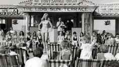 The social hotspot of Britain: Vintage photographs show a beauty contest being held at a lido sun-terrace in Margate Seaside Cafe, Seaside Resort, Rare Photos, Vintage Photographs, Thanksgiving Cartoon, Margate Kent, British Holidays, Nantucket Beach, Seaside Holidays