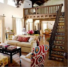 neutral backdrop with brightly colored accents///tiles, wooden beams, chandelier