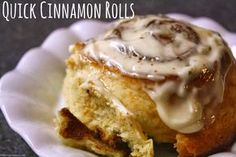 The most delicious and quickest cinnamon roll recipe! No yeast, so they're ready in a flash and they taste amazing!