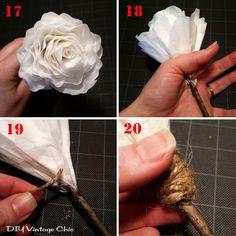 DIY Vintage Chic: DIY Valentine Centerpiece ~ Upcycled Coffee Filter Tutorial