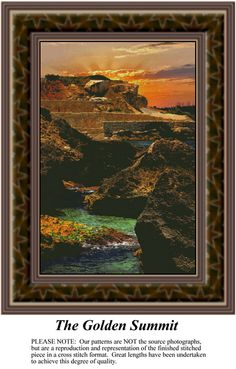 The Golden Summit, alluring landscapes counted cross stitch patterns, designs, charts, kits